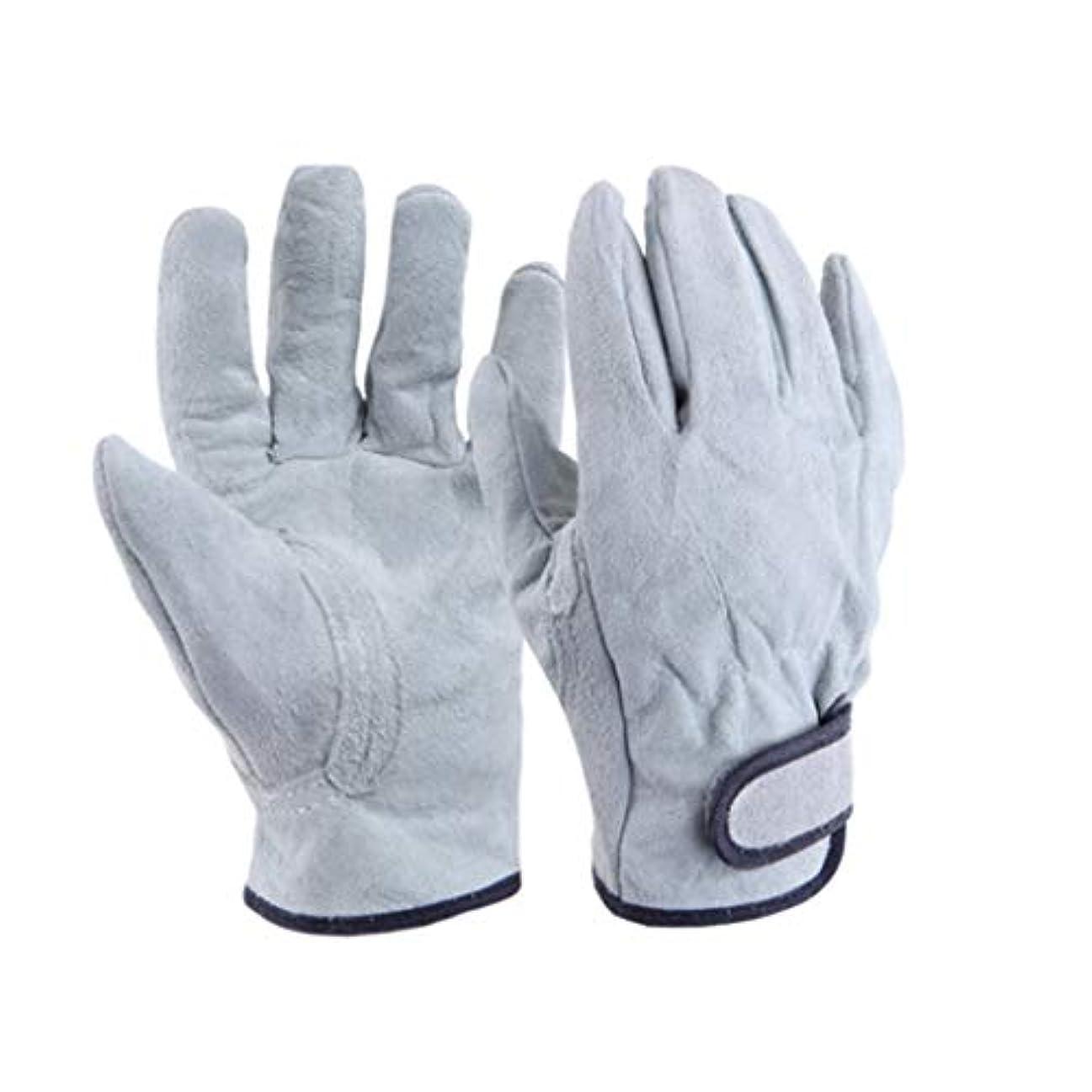 険しい最高スイング溶接手袋、ショートレザー耐摩耗断熱アンチピアスシックニング(グレー)
