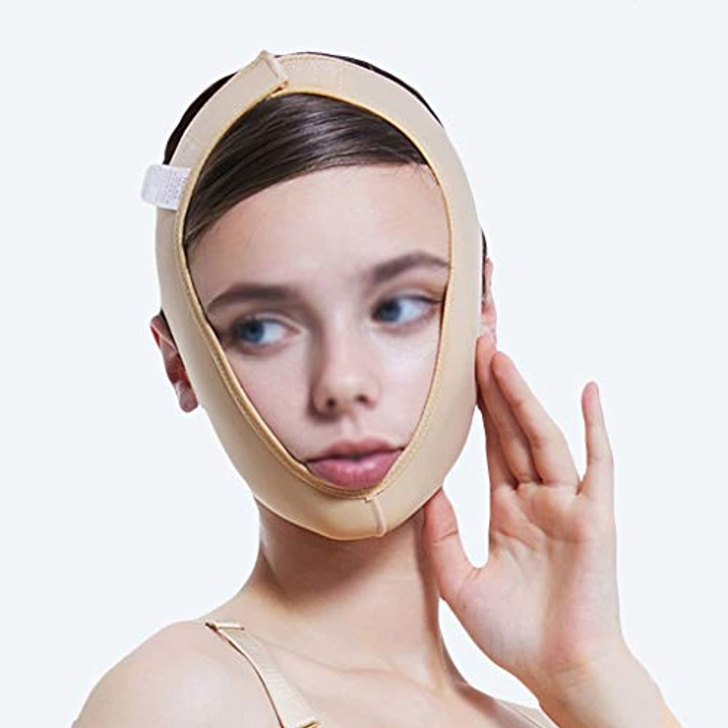 文芸媒染剤素晴らしいですXHLMRMJ フェイスリフティングマッサージフェイスリフティング、フェイスバンド引き締め肌用包帯、首の圧縮面、超薄型、リフティング引き締め (Size : S)