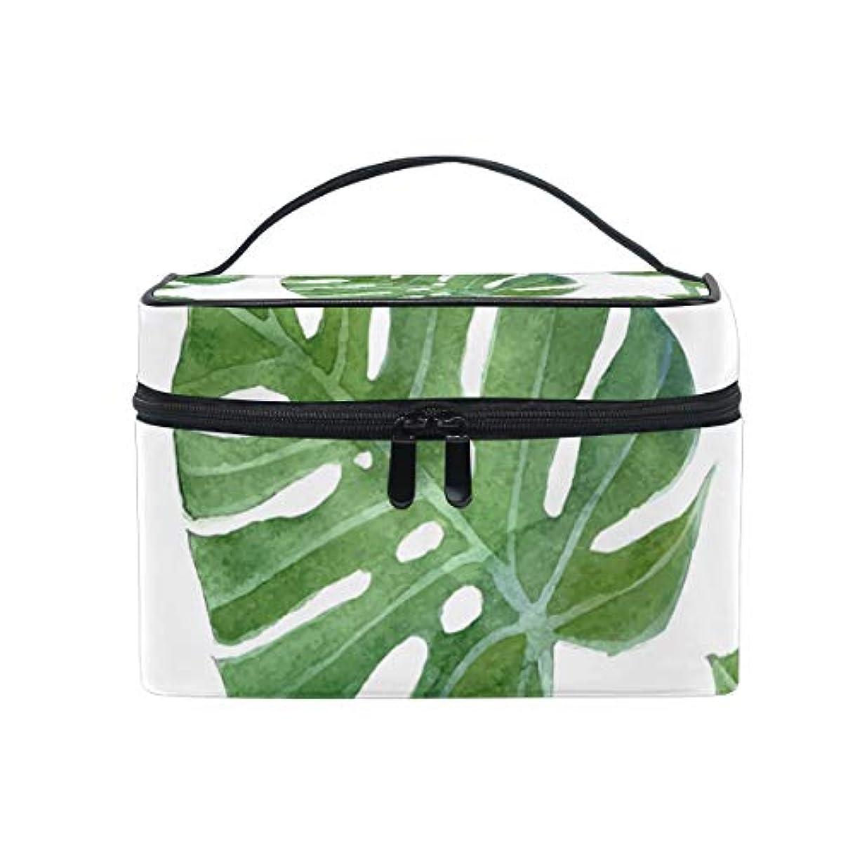 経験オートメーション組み合わせユキオ(UKIO) メイクポーチ 大容量 シンプル かわいい 持ち運び 旅行 化粧ポーチ コスメバッグ 化粧品 ハワイ 葉 緑 レディース 収納ケース ポーチ 収納ボックス 化粧箱 メイクバッグ