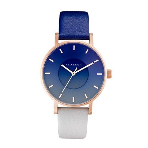 [クラス14] KLASSE14 腕時計 VOLARE SKY MIDNIGHT 36mm ネイビー × グレー × ローズゴールド レザー [並行輸入品]