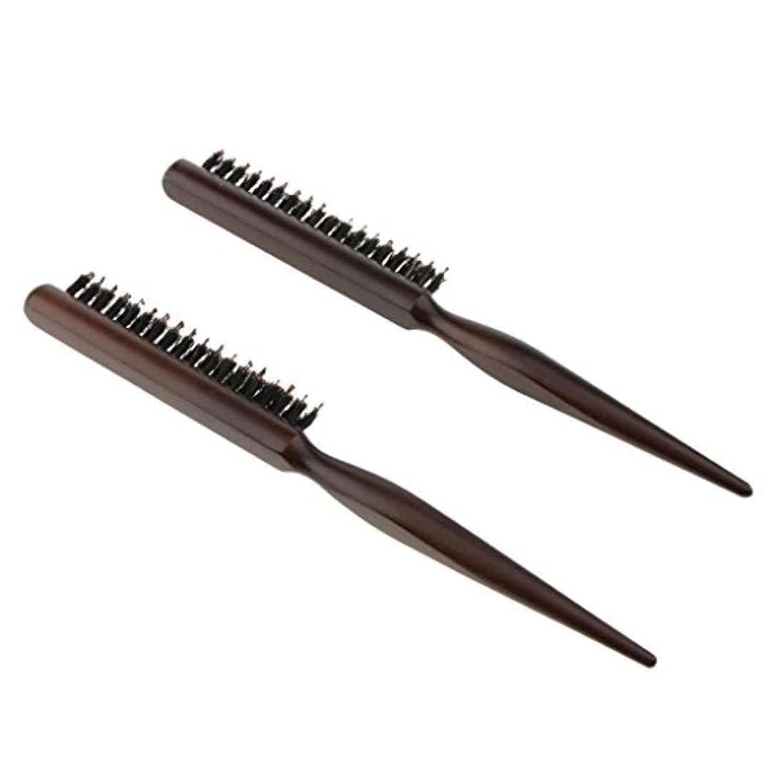 大佐時代遅れ有効なInjoyo ヘアセクショニング、エッジコントロール、バックコーミング用の木製ラットテールピック付きヘアブラシコームをからかう2つのパック天然毛