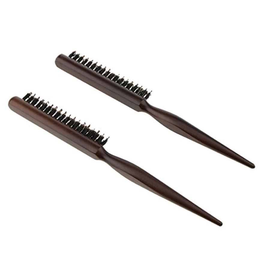 昼間吸収アカウント2本 木製櫛 ヘアコーム ヘアブラシ ナイロン毛+木製ハンドル