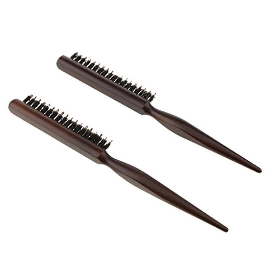 下に向けます基本的な兄弟愛2本 木製櫛 ヘアコーム ヘアブラシ ナイロン毛+木製ハンドル