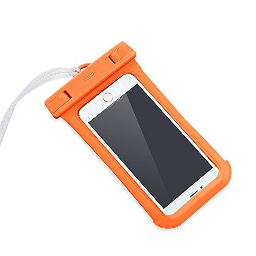 防水ケース ESR、ESR IPX8(防水規格) 防水カバー 入れたままタッチ操作 指紋認証(iPhone 7以降の機種でロック解除可) 対応機種: iPhone X/8/8 plus 7/7plus/6s/6/6plus/, Samsung Galaxy S8/S8Plus/S7/S6 Edge その他6インチまでのスマートフォン (オレンジ)