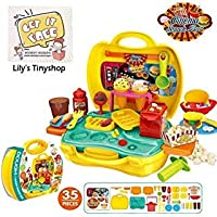 Deardeer Kids Play-Doh Cinema Snack Bar Play Set 35 Pcs Pretend Play House Toy Kit with Play Douth and Moulds in a Portable Case