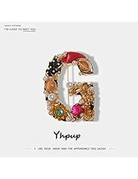 Yhpup 高級絶妙な文字 G 形状真珠の宝石黄金のブローチ女性のためのステートメントブランドファッションブローチピンの服アクセサリーブローチ パーツ