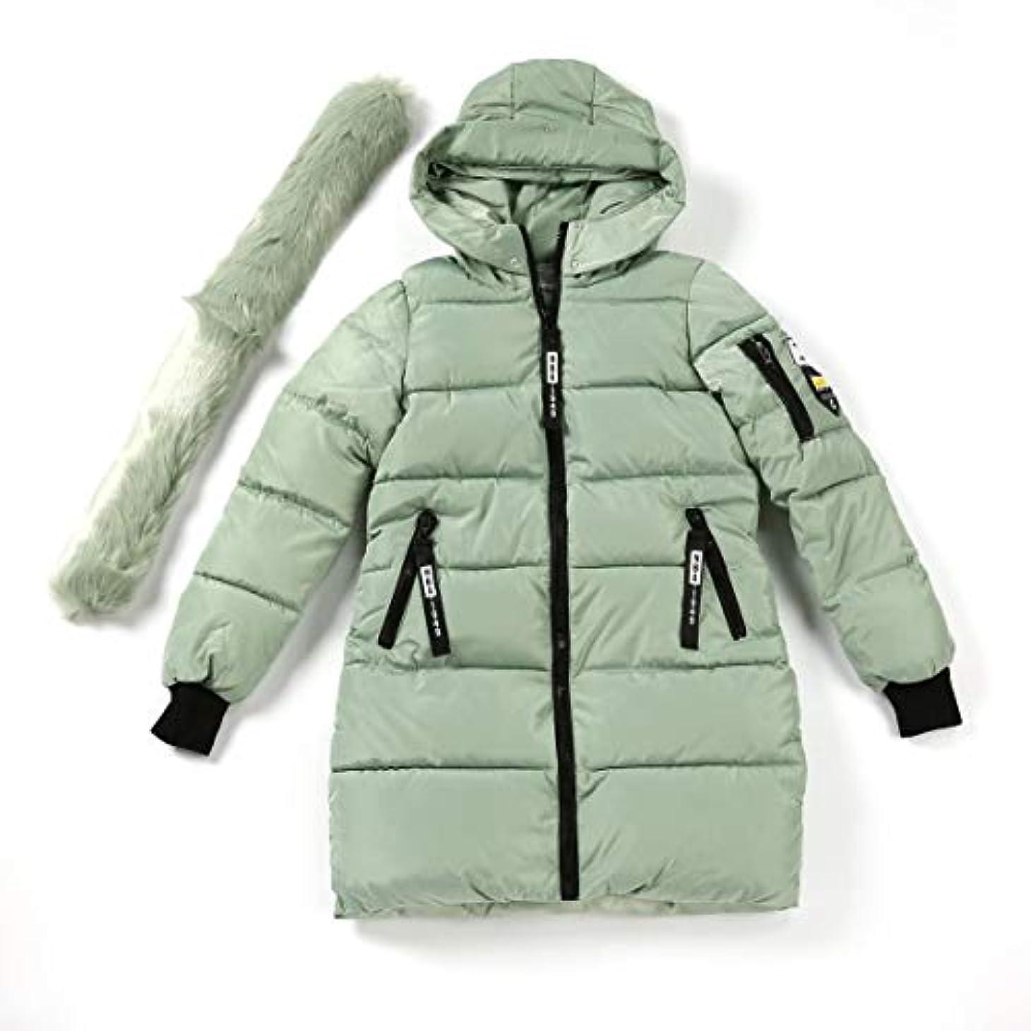 評決起きる特徴づける韓国スタイルの女性のコートのファッションのすべての一致フード付きダウンジャケット綿パッド入りの厚く暖かいコート中間の長い冬生き抜くコート-ライトグリーンXl