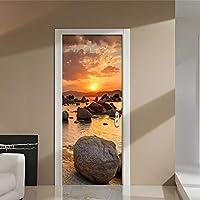 Xbwy カスタム壁画壁紙美しい夕日風景ドア壁画Diyステッカーリビングルームの寝室Pvc防水ビニール壁紙3 D-400X280Cm