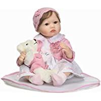 Lifelike Reborn Toddler Doll Soft Vinyl Baby Girl Look Real Magnetic Mouth, Wait Mommy Adopt,22-Inch