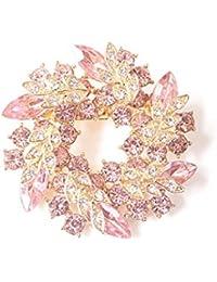 【ノーブランド品】 ゴージャス リース型 ブローチ プレゼント ギフトに最適 花 ブローチ (ピンク)