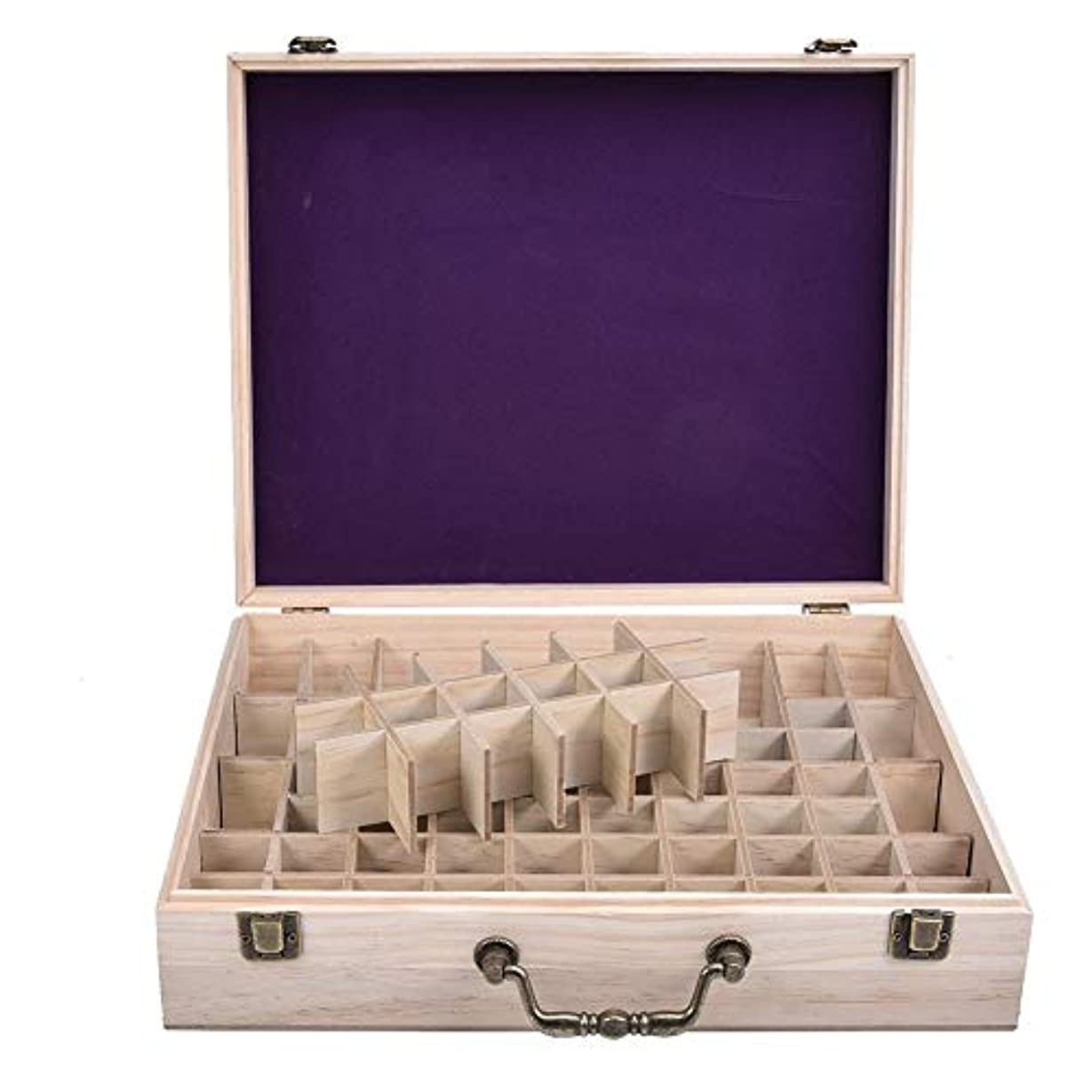 カスケード親愛な傀儡エッセンシャルオイル収納ケース 精油収納ボックス 木製 72本収納可能 大容量 取り外し可能なグリッド 5ml?10ml?15ml?115mlの精油ボルトに対応 junexi