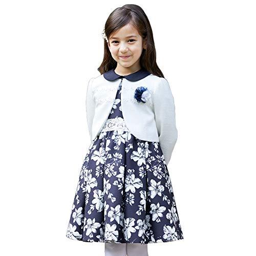 CHOPIN(ショパン) 8901-8304 プリントワンピースアンサンブル 115 120 130cm 入学式 女の子 スーツ (ネイビー, 115cm)