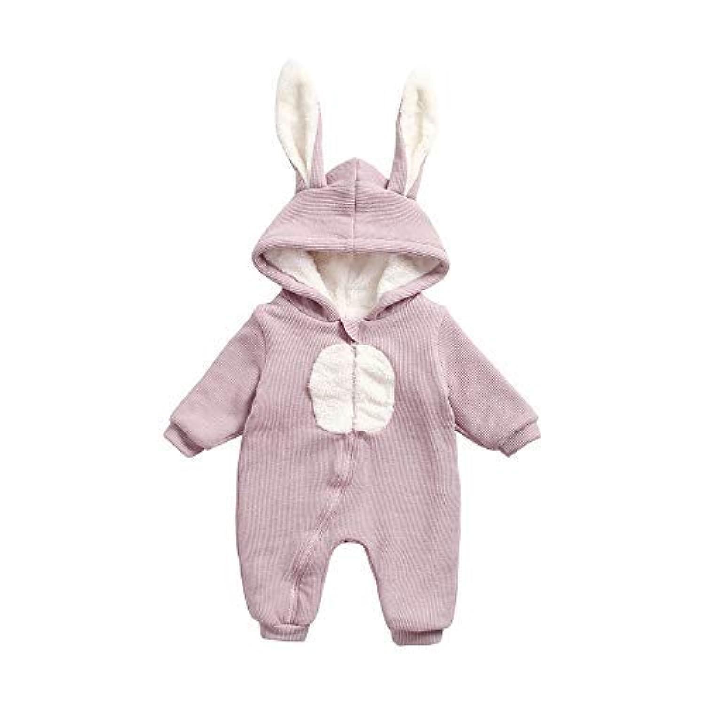 junliuTT 可愛い ウサギ 帽子まで コート 冬 赤ちゃん ボディスーツ 暖かい 厚い 赤ちゃん 漫画 ロンパース (0-6ヶ月/ 55cm, BRW8179-PU)12-18ヶ月/ 73cm|BRW8179-BN