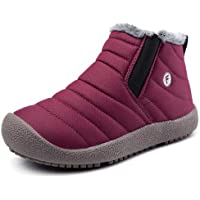 aeepd Kids Snow Boots Boys Girls Shoes Winter Ankle Bootie Outdoor Anti-Slip Fur Lined