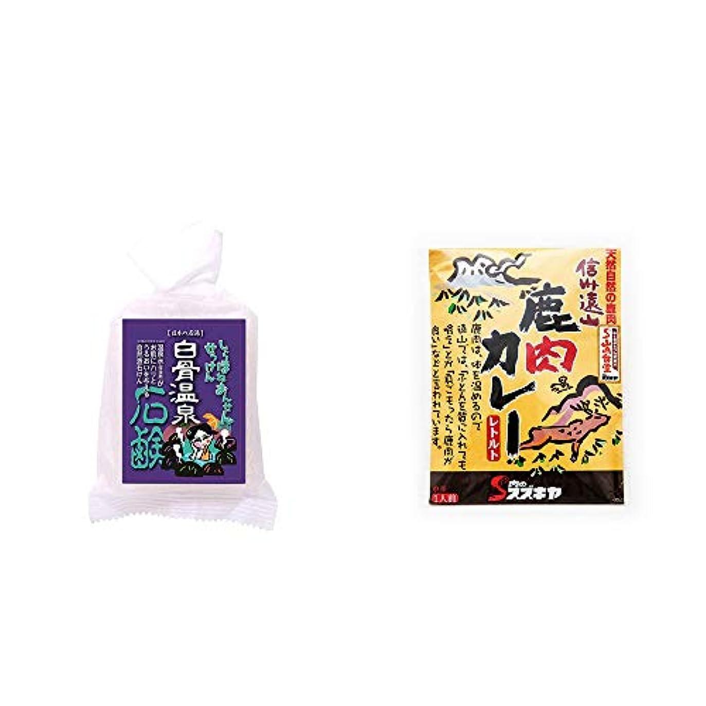 虹マニュアル装置[2点セット] 信州 白骨温泉石鹸(80g)?信州遠山 鹿肉カレー 中辛 (1食分)
