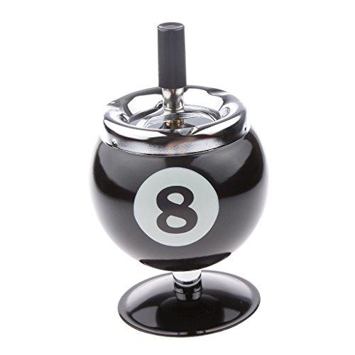 ノーブランド品  グッズ ギフト アルミ プール ビリヤード ボール 灰皿 全2種類2色選ぶ - ブラック8, ベース付き