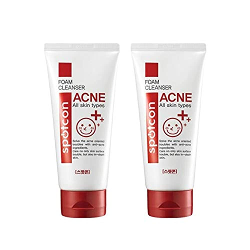 自慢アイロニースーパースポットコーンアクネフォームクレンザー120mlx2本セットにきび緩和韓国コスメ、Spotcon Acne Foam Cleanser 120ml x 2ea Set Korean Cosmetics [並行輸入品]