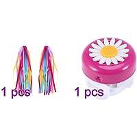 LIOOBO 1 Pair Children Bike Handlebar Streamers Bicycle Grips Tassels Ribbons + 1pc Bike Ring Bell Rosy White