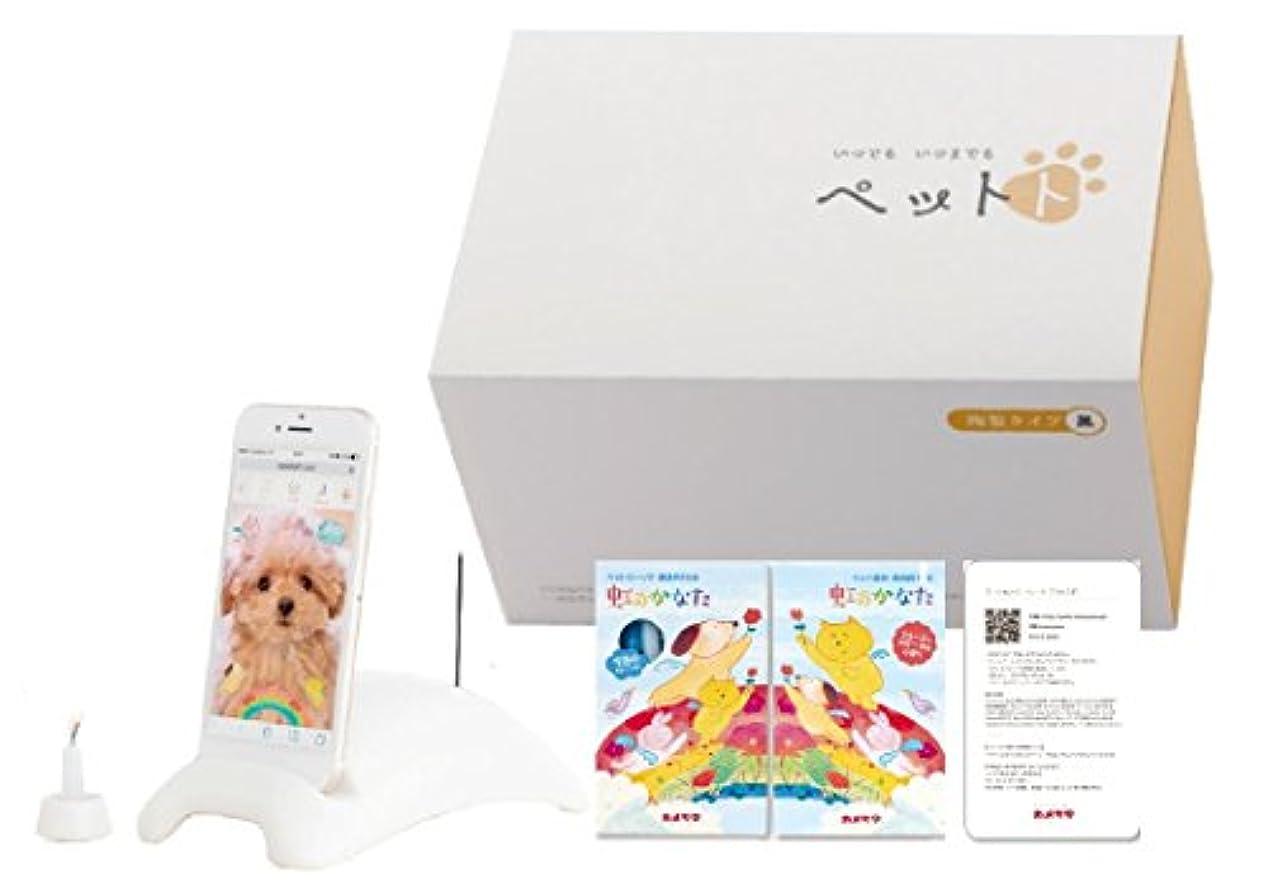 ピザお風呂緊張するカメヤマ ペットト 陶製タイプ 白 セット(スマートフォン ペット供養)