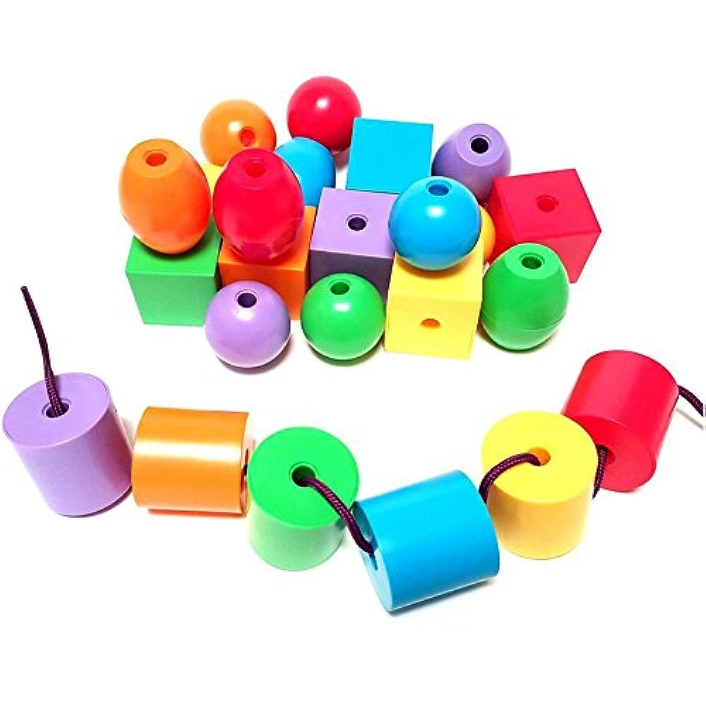 t-juan MM 60個カラフルジャンボLacingビーズ、Stringingビーズセットfor Toddlers &就学、Include 3 strings-montessori Toys for fineモータースキル自閉症ot ( Primaryジャンボ6色& 6シェイプ)