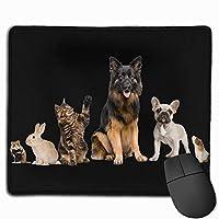 動物オオカミ犬猫うさぎマウス 滑り止め用デスクトップのマウスパッドにノートパンコンのマウスパッドを25X30CM当てた