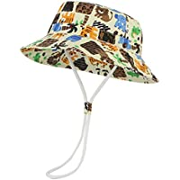 pekabo ベビー 帽子 ハット ベビー キッズ 洗えるコットンハット 動物柄 日焼け防止 UV カット 紫外線対策 (52cm)