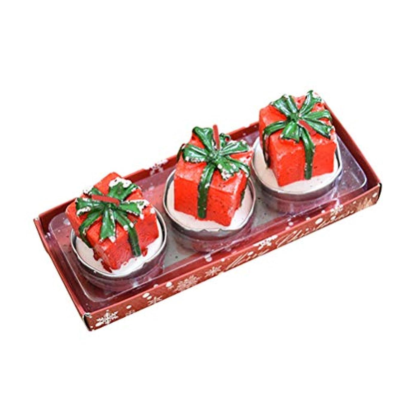 再び童謡しかしBESTOYARD 3本のクリスマスキャンドルミニキュートな装飾的なギフトボックス形状のキャンドルスパのホームクリスマスパーティーウィンドウの表示テーブルの装飾の贈り物