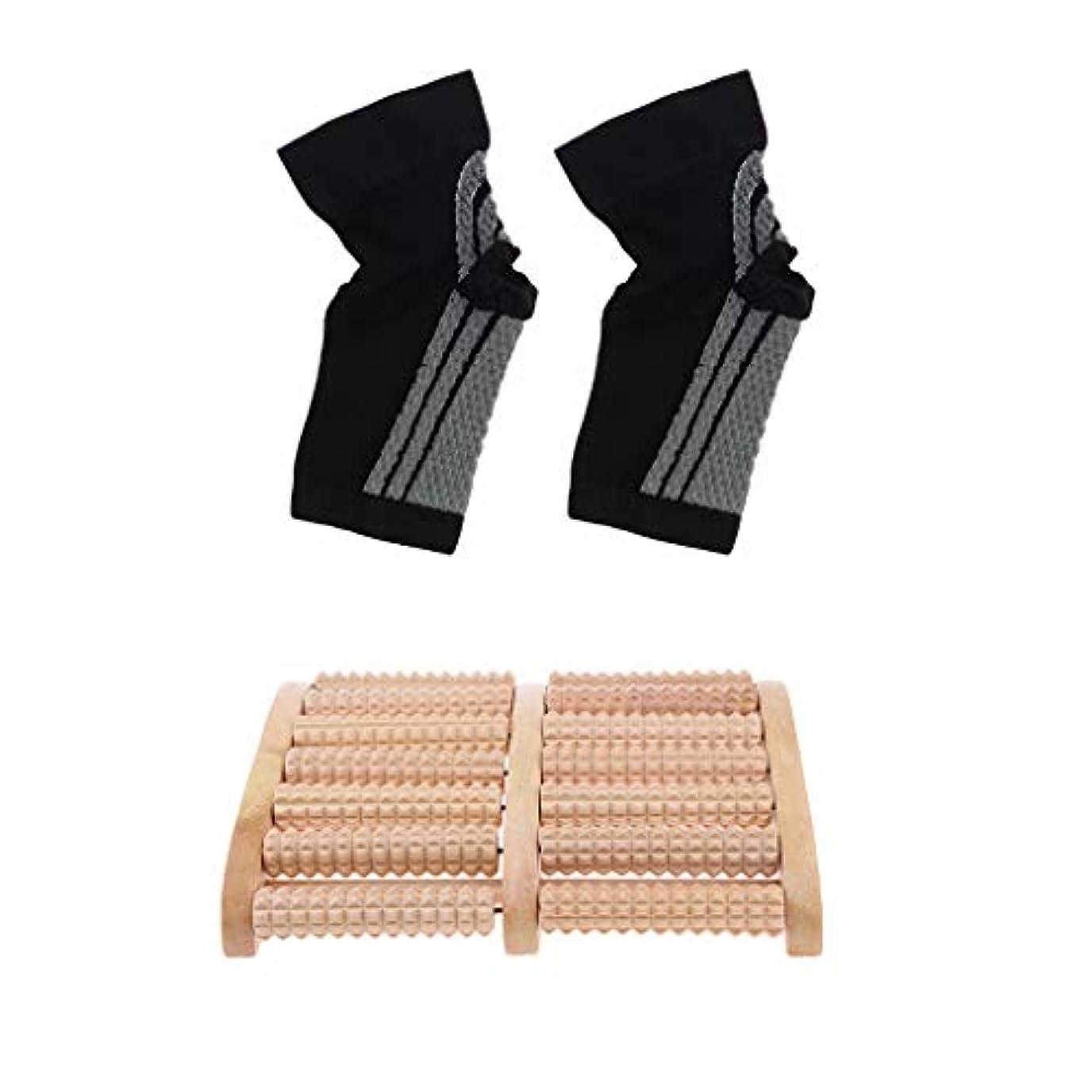 マットレスアート上流のdailymall 痛みのストレスリリーフ+足首圧縮ソックスの木製ローラーフットマッサージャー