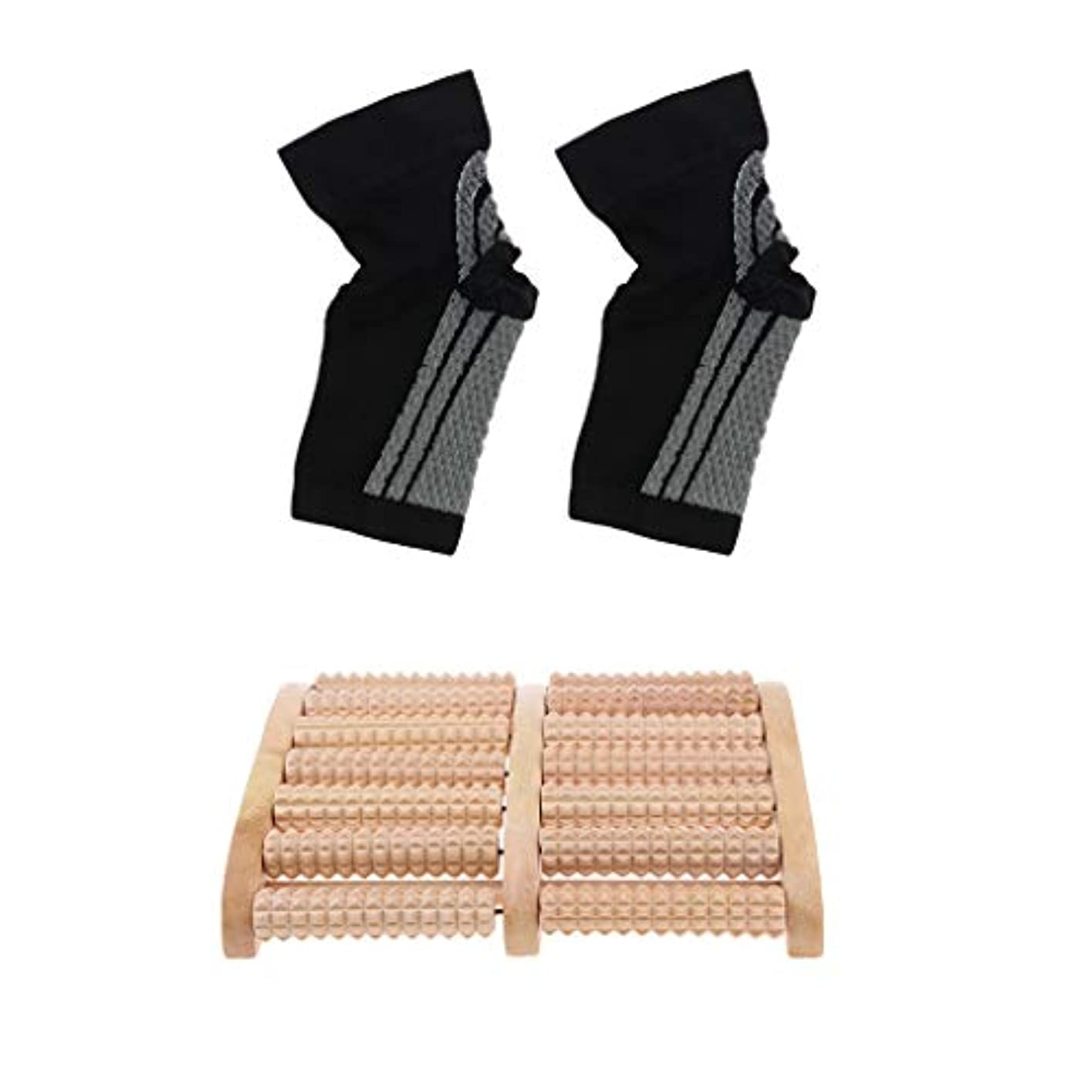元に戻す物語厚いdailymall 痛みのストレスリリーフ+足首圧縮ソックスの木製ローラーフットマッサージャー