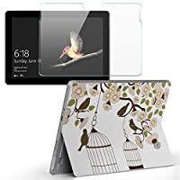 Surface go 専用スキンシール ガラスフィルム セット サーフェス go カバー ケース フィルム ステッカー アクセサリー 保護 フラワー 鳥 和風 009682