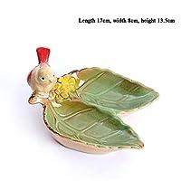HongTeng 鳥セラミックフルーツプレートヨーロッパドライフルーツプレートリビングルーム現代灰皿ファッションクリエイティブ収納ジュエリープレート石鹸皿 (Color : B)