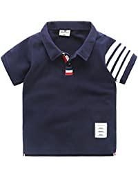 Elfin Parkキッズ シャツ 男の子 半袖 襟付き ポロシャツ 子供 ボーイズ ボーダー Tシャツ 男児 子供シャツ 綿 トップス 通園 通学 夏物 カジュアル