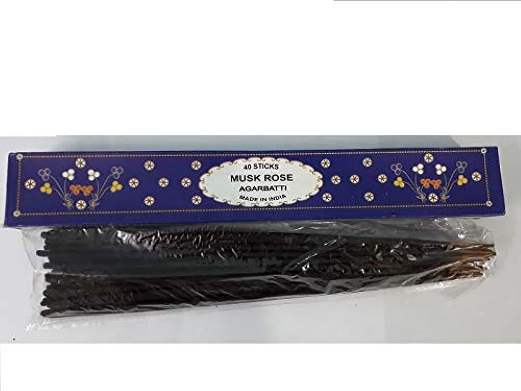 難民傷つきやすいポルティコMusk Rose Agarbatti 40 Incense Sticks Hand Rolled Incense