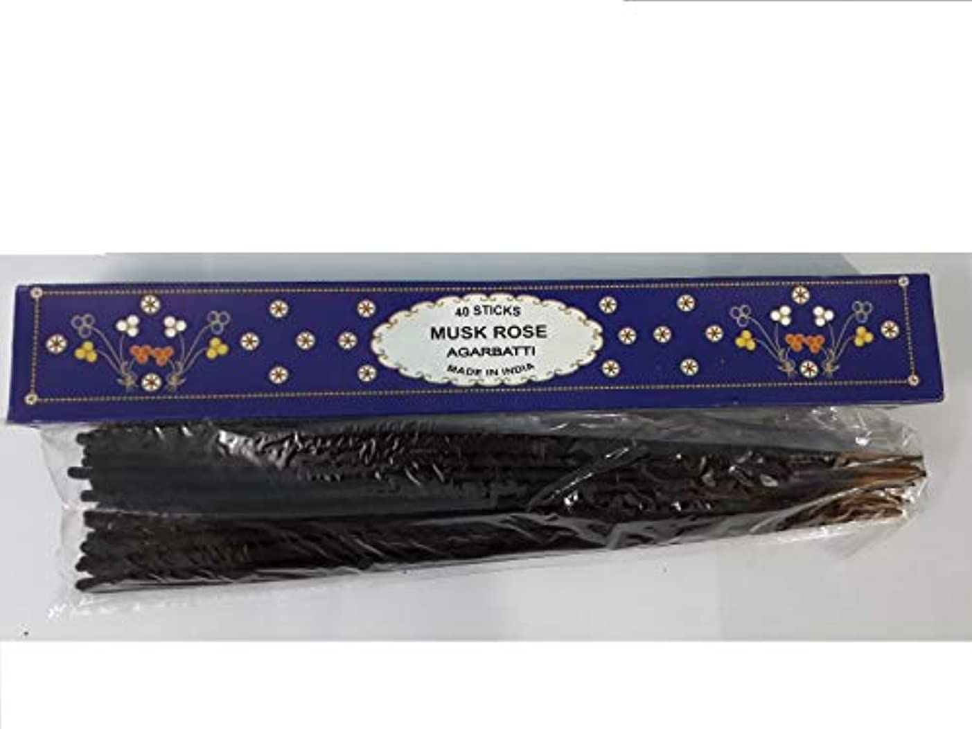 毛細血管がっかりしたペダルMusk Rose Agarbatti 40 Incense Sticks Hand Rolled Incense