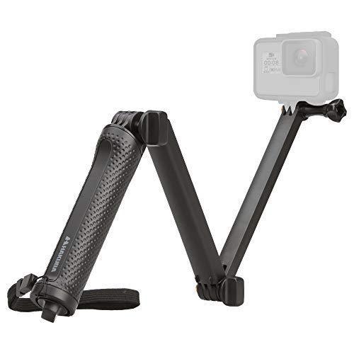 【Amazon限定ブランド】 HAKUBA アクションカメラ用 3Way 自撮り棒 GoPro HERO7/6/Fusion対応 折りたたみ式 ミニ三脚付き AMZGGP3WBK