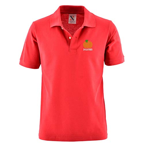 [X-CLOTHES] ポロシャツ 半袖 ビッグ ワンポイント 刺繍 グッズ メンズ 服 カボチャ かぼちゃ 南瓜 レッド 赤 かぼちゃ2 XLサイズ