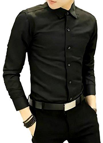 メンズ ワイシャツ トップス 綿 襟 七分袖 ワイドカラー 黒 秋冬 秋物 ボタンダウン 柄 おおきいサイズ (黒L)