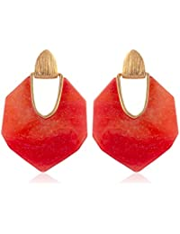 RIAH FASHION Geometric Galaxy Resin Statement Earrings - Colorful Acetate Stone Stud Drop Earrings in Heptagon, Pentagon (Heptagon - Red)