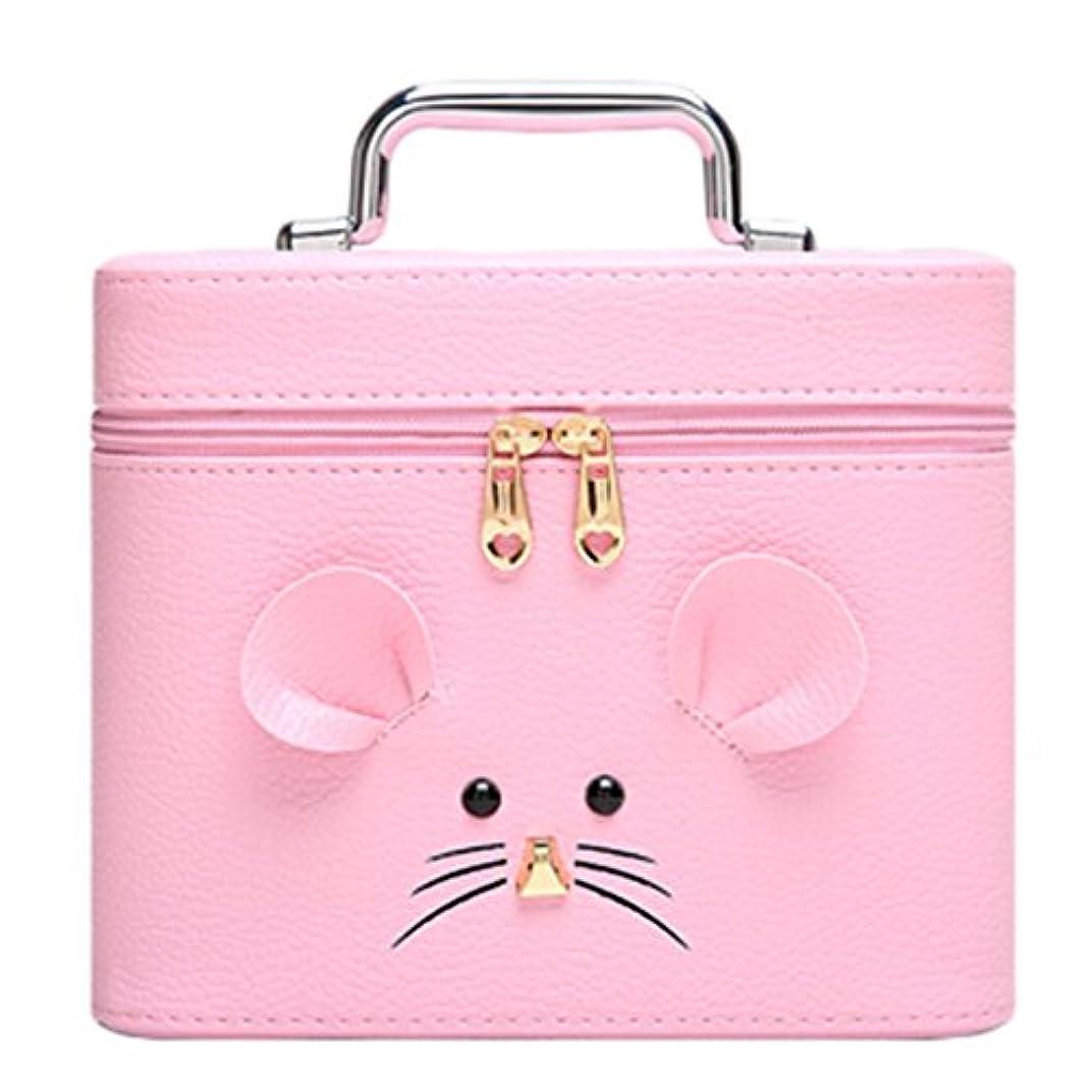 流星サイレンする化粧オーガナイザーバッグ ジッパーと化粧鏡で小さなものの種類の旅行のための美容メイクアップのためのピンクのポータブル化粧品バッグ 化粧品ケース