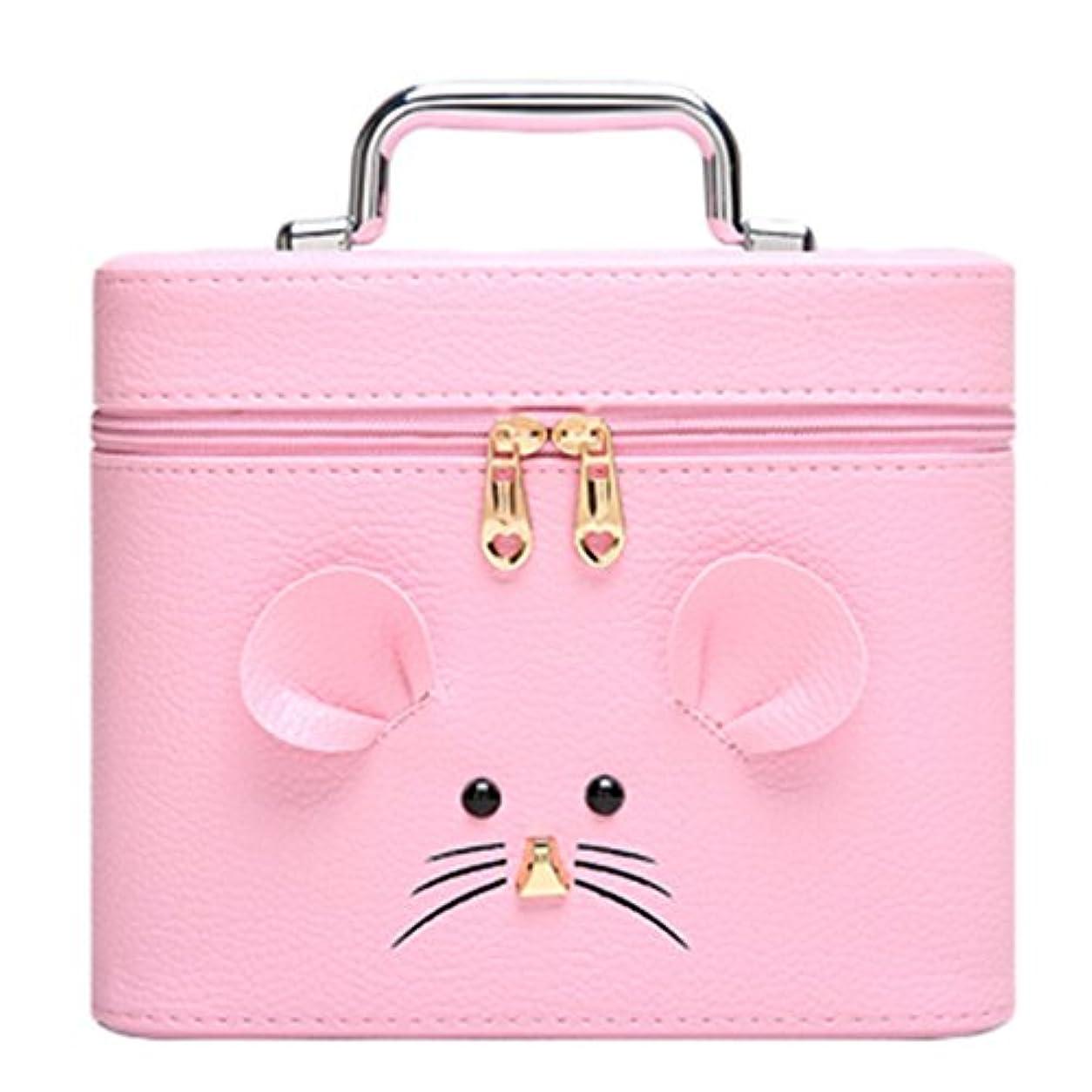 ミサイル増強するホステル化粧オーガナイザーバッグ ジッパーと化粧鏡で小さなものの種類の旅行のための美容メイクアップのためのピンクのポータブル化粧品バッグ 化粧品ケース