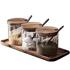 RONGER 調味料入れ 3個組 塩・コショウ・砂糖入れ 木蓋・木台・小匙付き オシャレ クリエイティブ ガラス調味料ケース ナチュラル 家庭用 北欧風