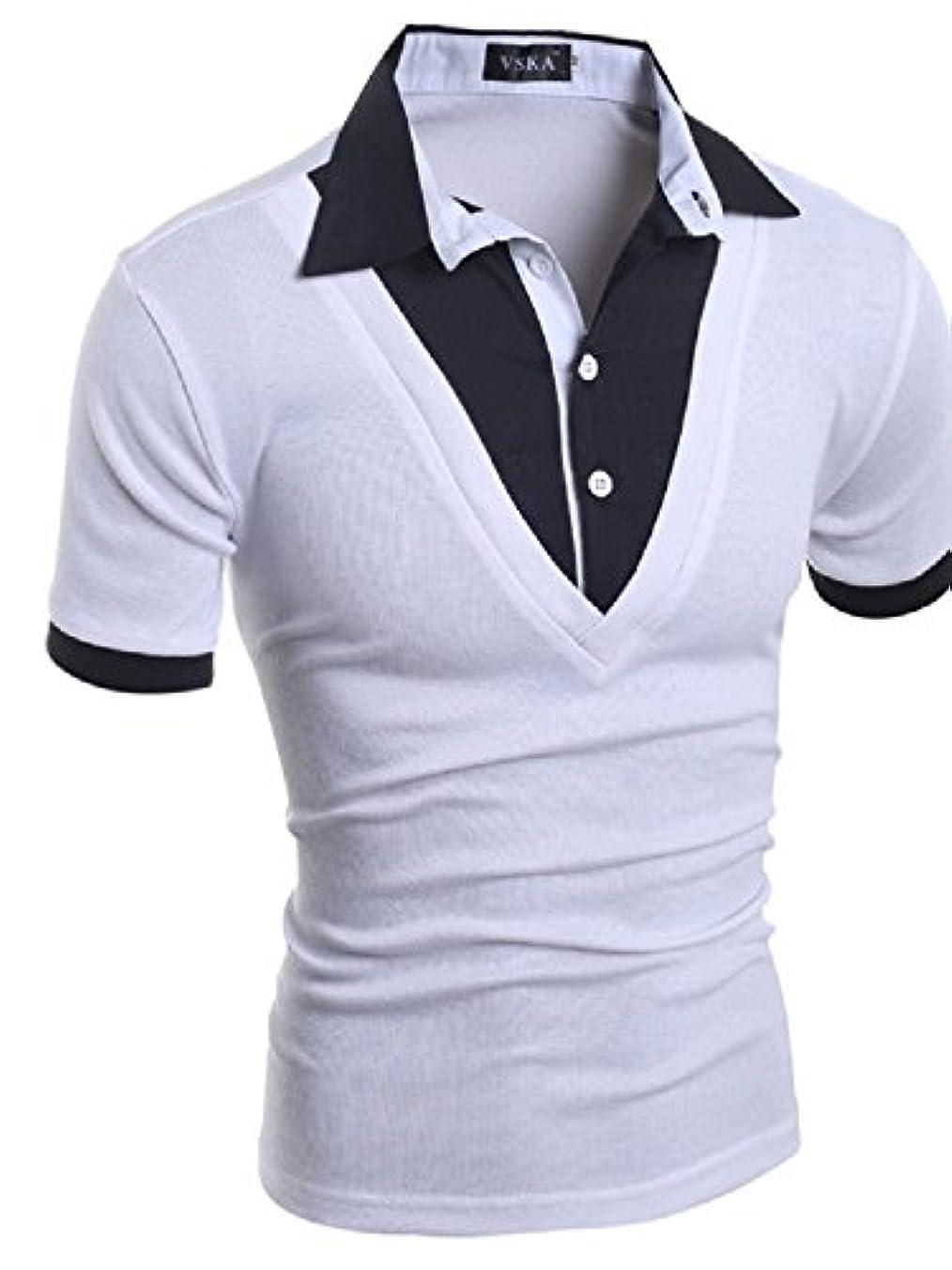 層浸食形【Smile LaLa】 メンズ 半袖 Tシャツ カットソー 重ね着風 襟付き スリム スタイリッシュ 薄手 ホワイト ブラック グレー 夏服