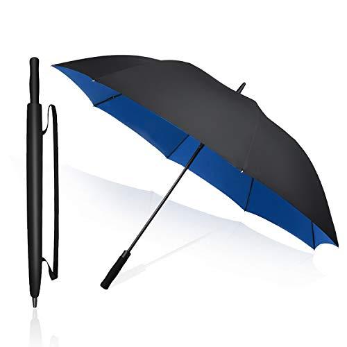 長傘 紳士傘 southbusiness メンズ 二重構造 耐風 撥水 UVカット 高強度グラスファイバー 大きい ゴルフ ビジネス 車 晴雨兼用 おしゃれ … (ブルー)