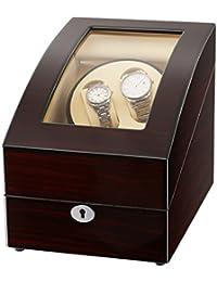 CRITIRON ワインディングマシーン 2本巻き+3本収納 ウォッチワインダー 木製 高級 時計自動巻き上げ機 静音 時計自動巻きマシーン 一年保証期間 (ブラウン)