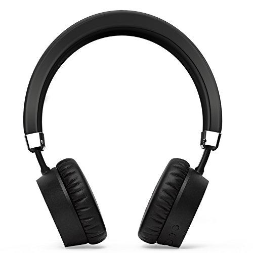 ノイズキャンセルヘッドフォンを耳にブルートゥースIphone Ipad ..... Mp 3 Mp 4のためのマイクの軽量10hs演奏時間とmeidongワイヤレスヘッドフォンから(ブラック)