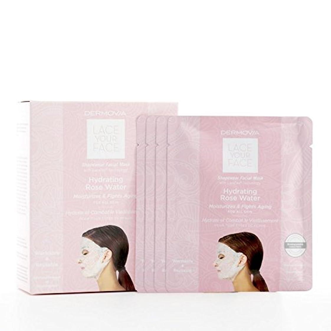 博物館リズム心理的は、あなたの顔の圧縮フェイシャルマスク水和が水をバラレース x4 - Dermovia Lace Your Face Compression Facial Mask Hydrating Rose Water (Pack...