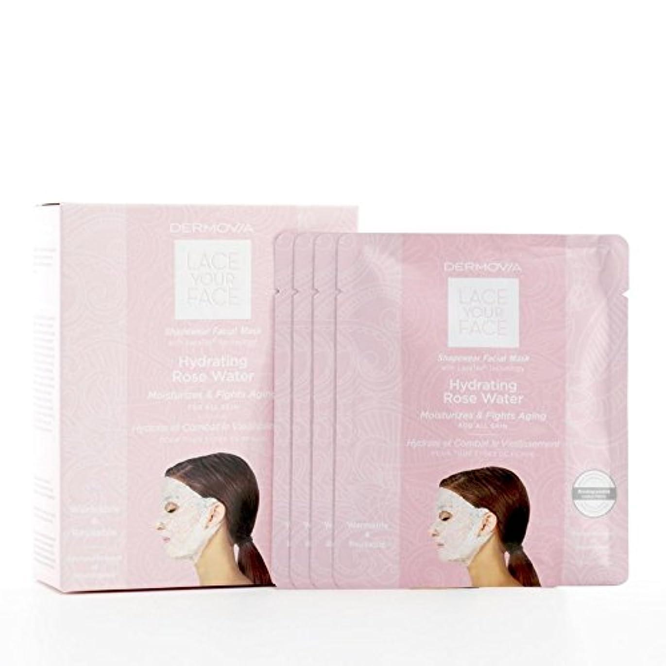 うつ手錠一生は、あなたの顔の圧縮フェイシャルマスク水和が水をバラレース x4 - Dermovia Lace Your Face Compression Facial Mask Hydrating Rose Water (Pack...
