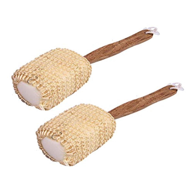カタログ硫黄作成するTopbathy 2ピース入浴ボディブラシ付きウッドハンドル風呂loofahバックスクラバー剥離シャワーブラシ用男性女性
