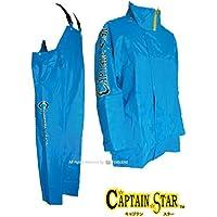 トオケミ(TOHKEMI) 【Captain Star】 マリン レインウェア キャプテンスター ジャケット 脱着可能フード付 (#185 マリンブルー) + キャプテンスター サロペット(#282 マリンブルー) セット (上下同サイズ)