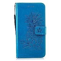 Galaxy J8 2018 財布型 ケース, OMATENTI 薄型 軽量 PU レザー手帳型 財布 ケース, パイナップルのエンボスパターン 耐衝撃ケース カード収納ホルダー付き 横置きスタンド機能付き, 青